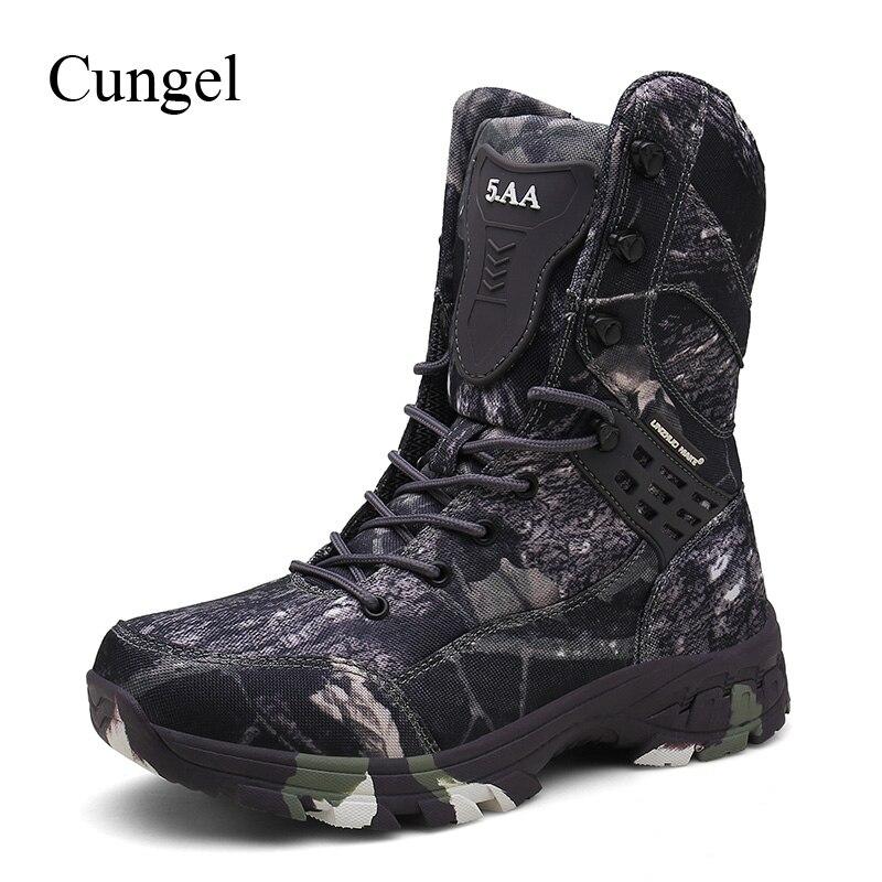 Botas de Caminhada à Prova Água ao ar Militar do Exército Cungel Homens Dwaterproof Livre Camuflagem Caça Botas Combate Tactical Ankle Boots Escalada Sapatos