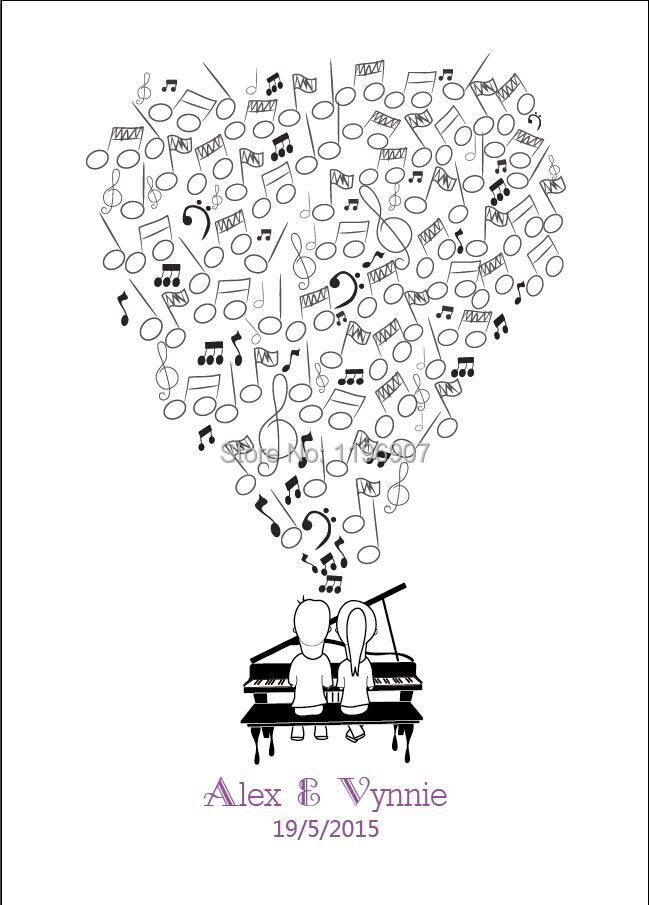 Musical notes Theme Party Wedding Fingerprint Tree Guest