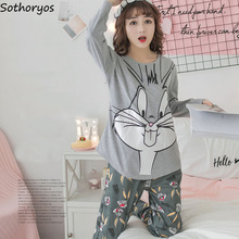 Pajama Sets Women O-Neck Cotton Printed Kawaii Printing Pajamas Womens Long  Sleeves Korean Autumn 89fdc44c5