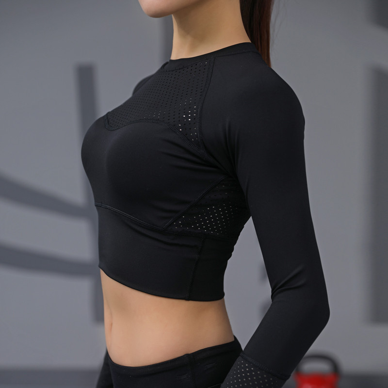 1c8a97e98e2cf Fitness   body-building Yoga Top Padded T-shirt long sleeve Shirts  Patchwork Gym Camouflage black Crop Tops Mesh Fitness Running Sport T-Shirts  Women