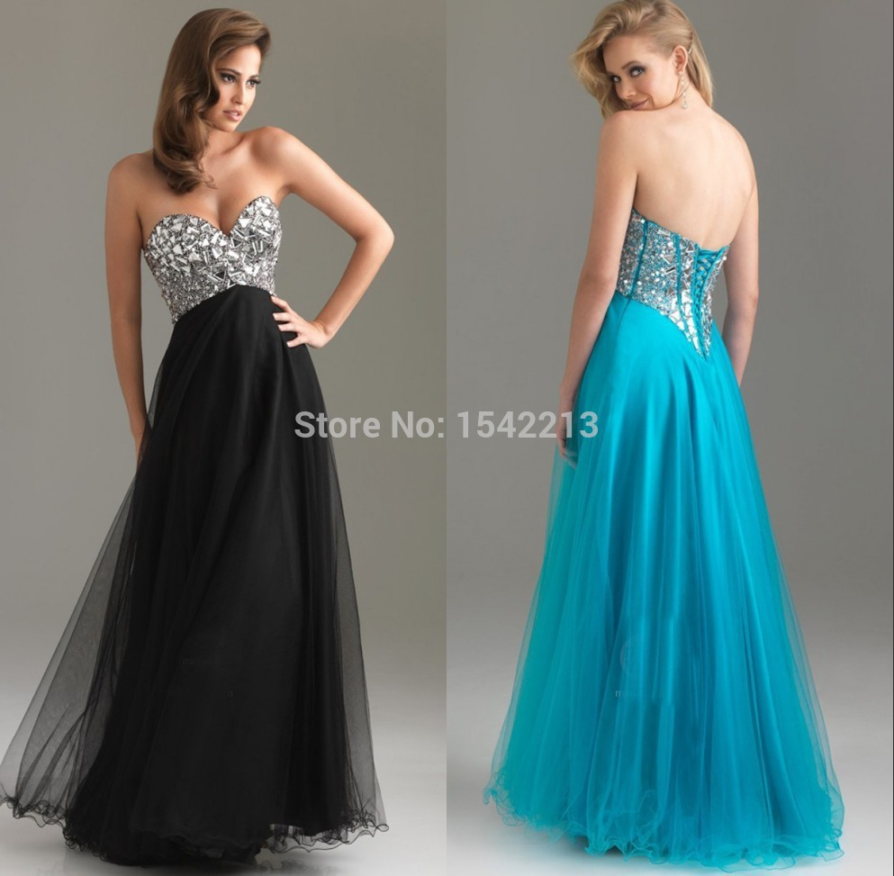 Turquoise Blue Black Coral Sweetheart Formal Long Gown Women ...