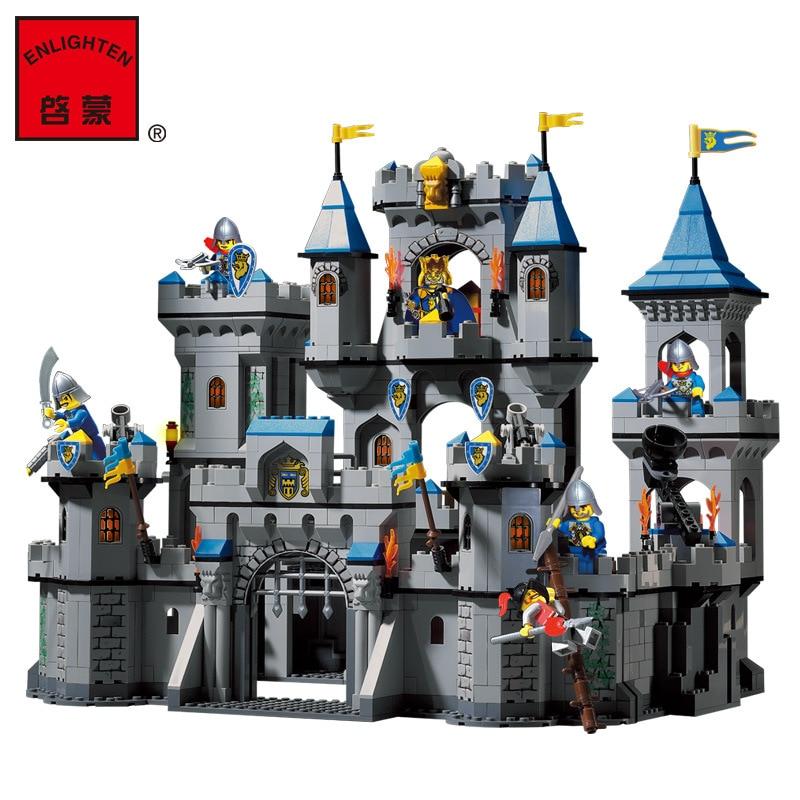 цена building block set Compatible With Enlighten 1023 Medieval Lion Castle Knight Carriage Model Bricks Toys for Children онлайн в 2017 году