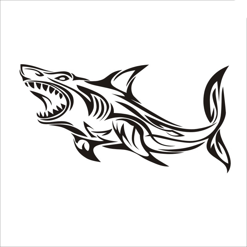 10 19cm Shark Decal Angling Tackle Shop Hollow Sticker Fish Fishing Boat Car Window Vinyl Decal Funny Poster Motorcycle in Car Stickers from Automobiles Motorcycles