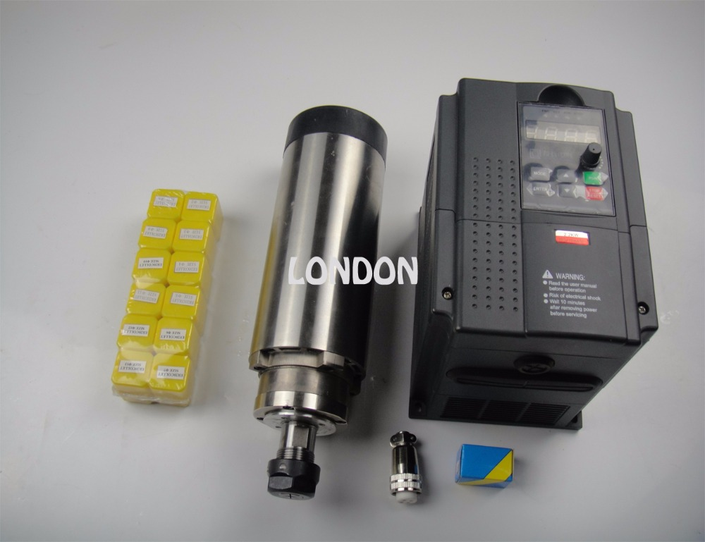 CNC spindle kit ER20 2.2KW air cooling spindle + 1 pieces 2.2KW VFD inverter+10 pieces ER20 collets