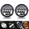 For Land Rover Defender Hummer 7 Inch LED Headlight With Halo Angel Eyes For Jeep TJ