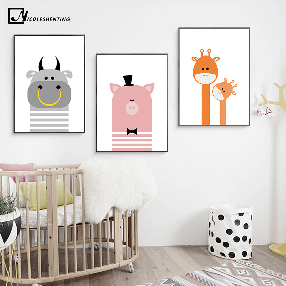 Buy Cartoon Bear Giraffe Animal Poster