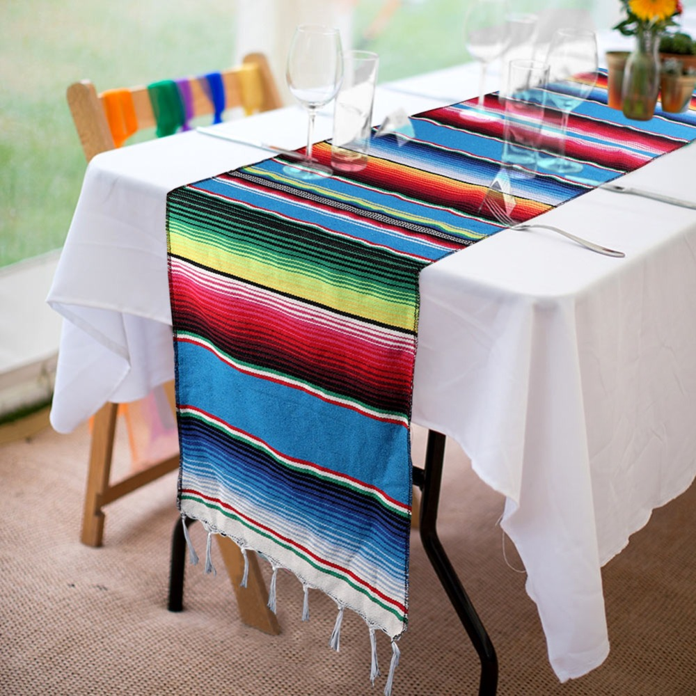OurWarm Mexican Serape Table Runner Fiesta Themed Party Decoration Cotton Tablecloth Blue Blanket