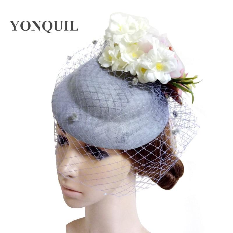 Women Fancy Grey Beautiful Fascinator Headwear Silk Flowers Wedding Hats Net With Dots Race Hair Accessories For Bridal 3Pcs/Lot