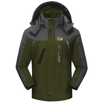 2019 Mannen Outdoor Daiwa Vissen Kleding Fleece Winter Waterdichte Warme DAWA Vissen Jassen Patchwork Hooded Alpinisme Pakken