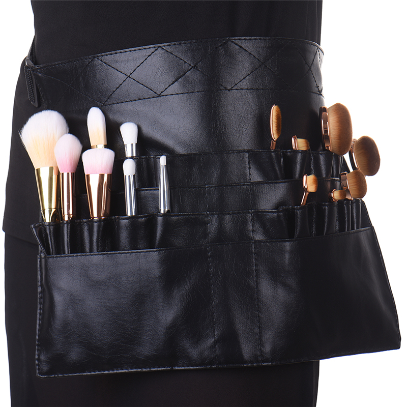 Professional Black Two Arrays Makeup Brush Holder PVC Apron Bag Artist Belt Strap Protable Make Up Bag Cosmetic Brush Bag ледянка сима ленд зайка микс 788982