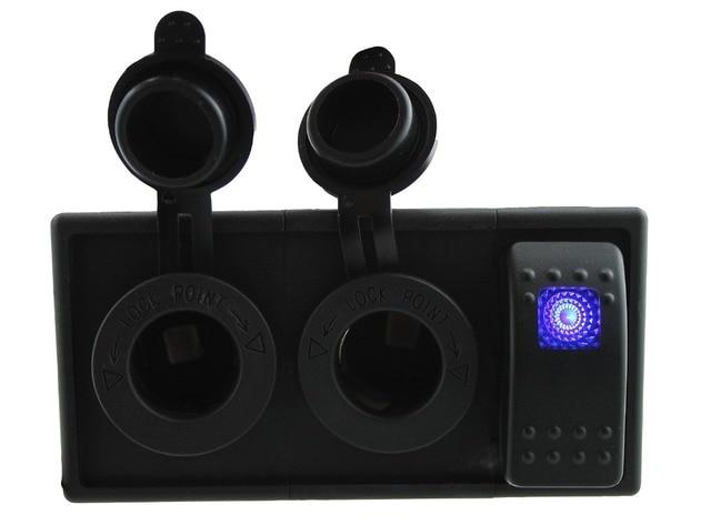DC12V-24V Power charger port with rocker switch holder housing kit for car boat RV   motorcycle marine