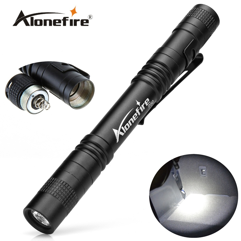 AloneFire P50 1 Mode cree LED Mini Portable Belt clip pen lamp Travel  work flashlight Torch for Camping Hiking Out for AAA