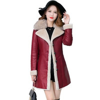 Sheepskin Coat Women 2018Winter Leather Jacket Female Black Wine Shearling Coat Fur Collar Plus size Warm Leather Top Outerwear