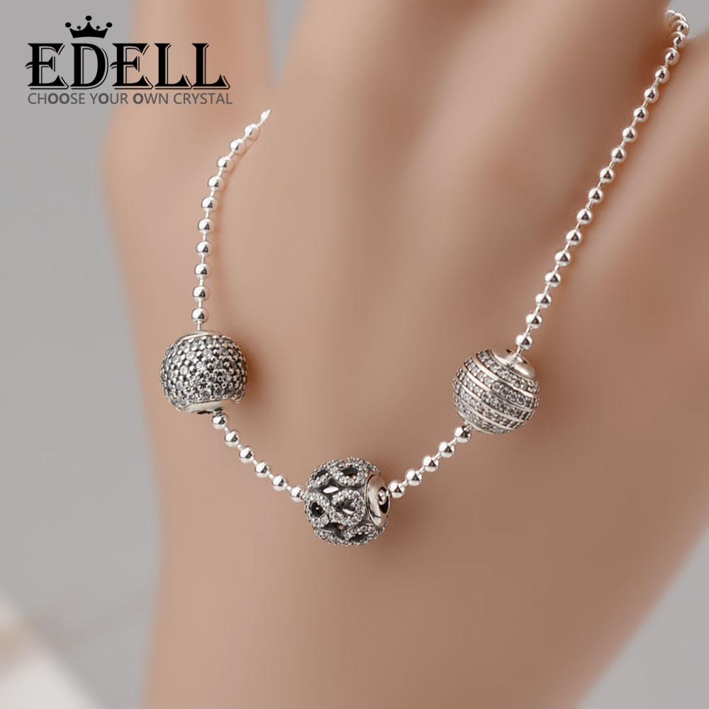 EDELL 2017 NEW Bracelets & Bangles 925 Sterling Silver Jewelry Bracelets With Silver Ball And Bead Design Silver Link Chain DIY 2018 mens jewelry double layer link chain men bracelets 925 sterling silver bracelets