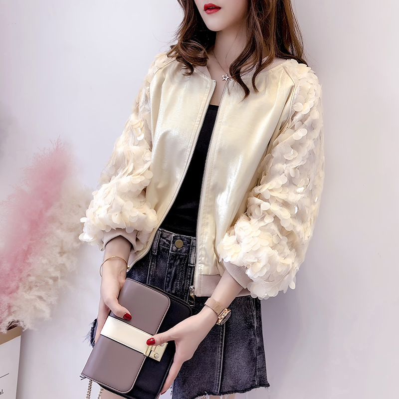 Autumn Women   Basic     Jacket   2019 Harajuku High Street O-neck Loose Tops Bomber Coats Outwear Sequined Lantern Sleeves Zip Up Tops