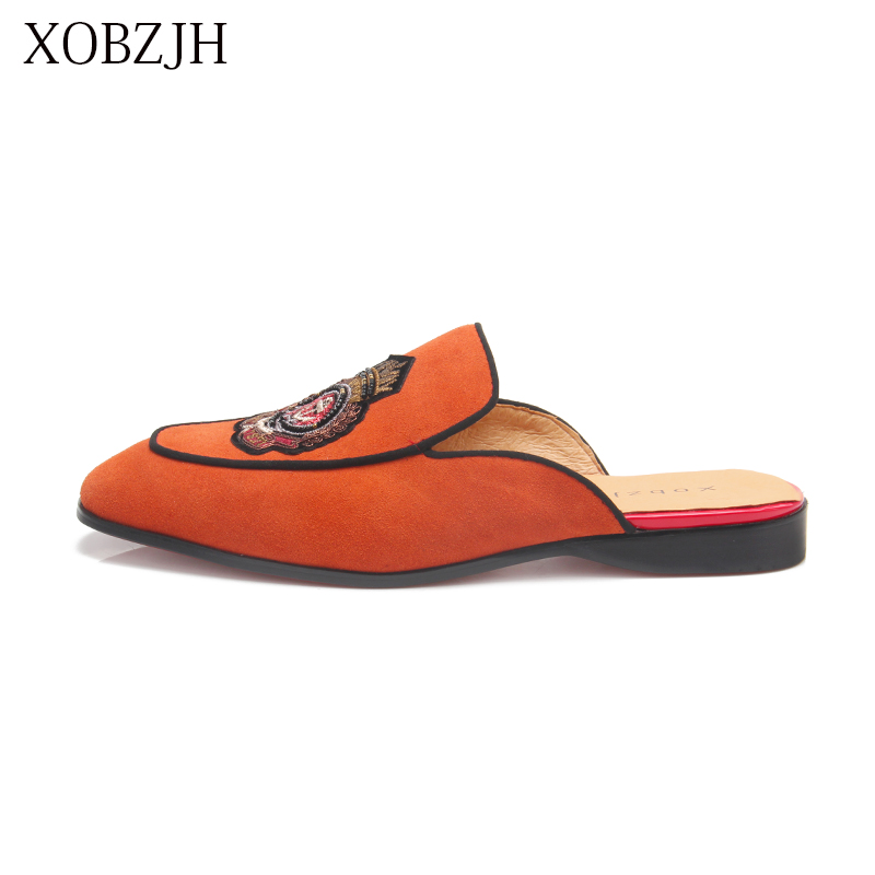 XOBZJH 2019 New Men's Shoes Handmade Leisure Style Man Summer Party Shoes Men Flats Leather Orange Loafers Big Size Shoes