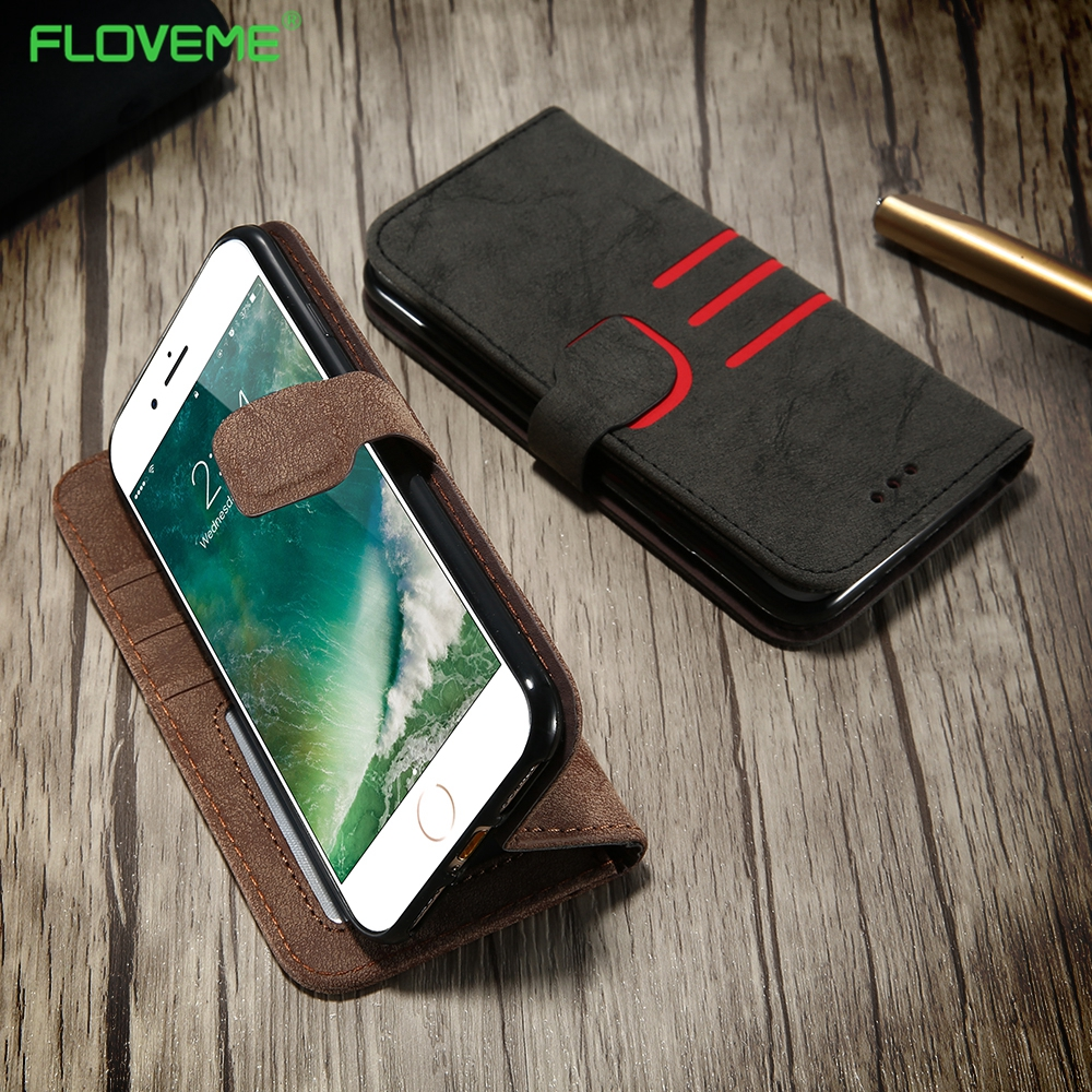 FLOLVEME Flip Leather Case For iPhone 6s Case Luxury Wallet Full Protective Card Slots Phone Cases For iPhone 7 7 Plus 6 6s Plus