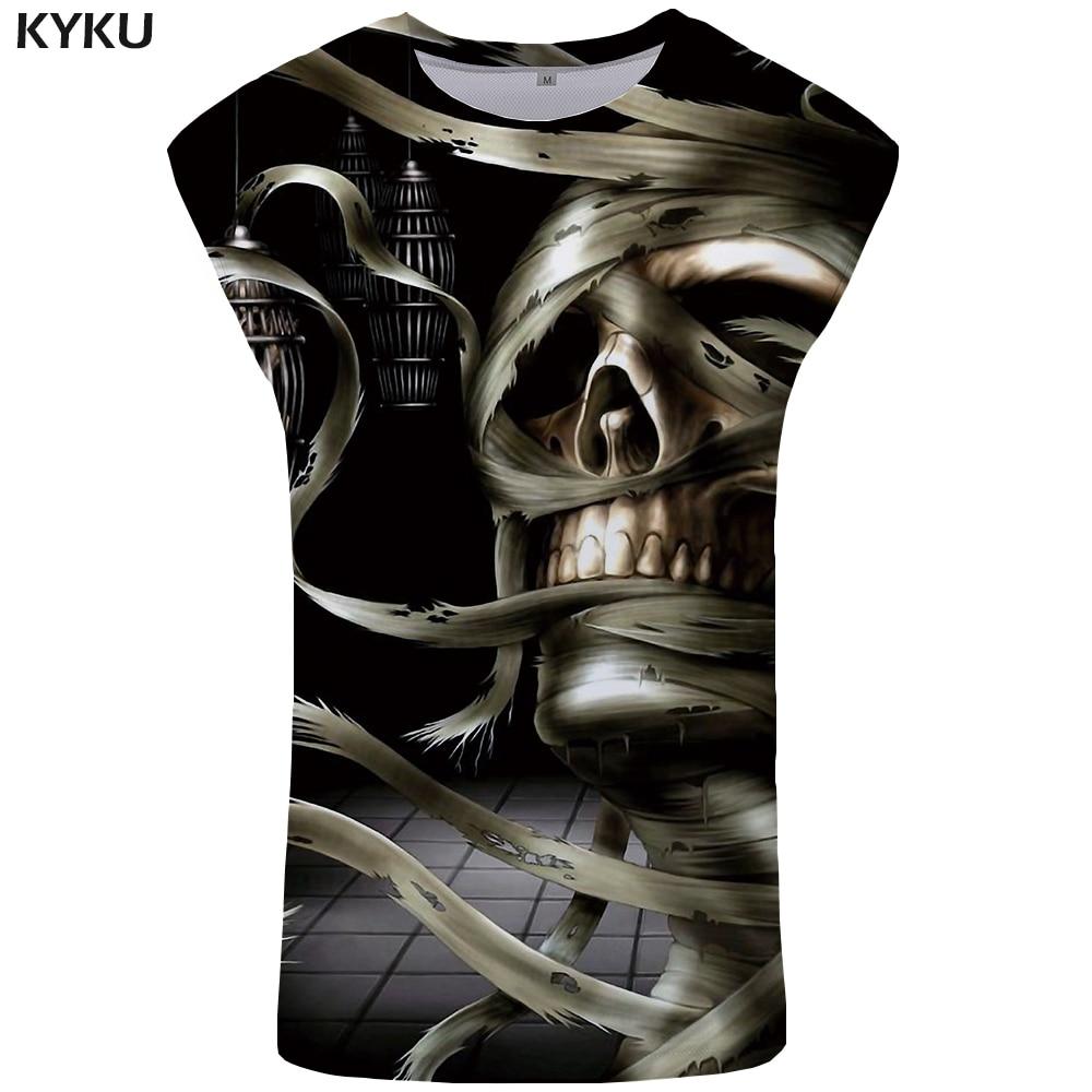 KYKU Brand Skull   Tank     Top   Men Ftness Clothes Hip Hop Vest Bodybuilding Mens Clothing Devil Undershirt Stringer Sleeveless Shirt