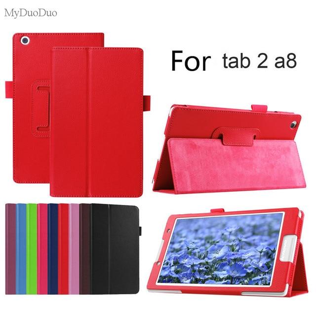 """Litchi caso para Lenovo Tab2 A8 cuero PU soporte de Tablet funda para Lenovo Tab 2 A8-50 A8-50F a8-50LC 8 """"+ película"""