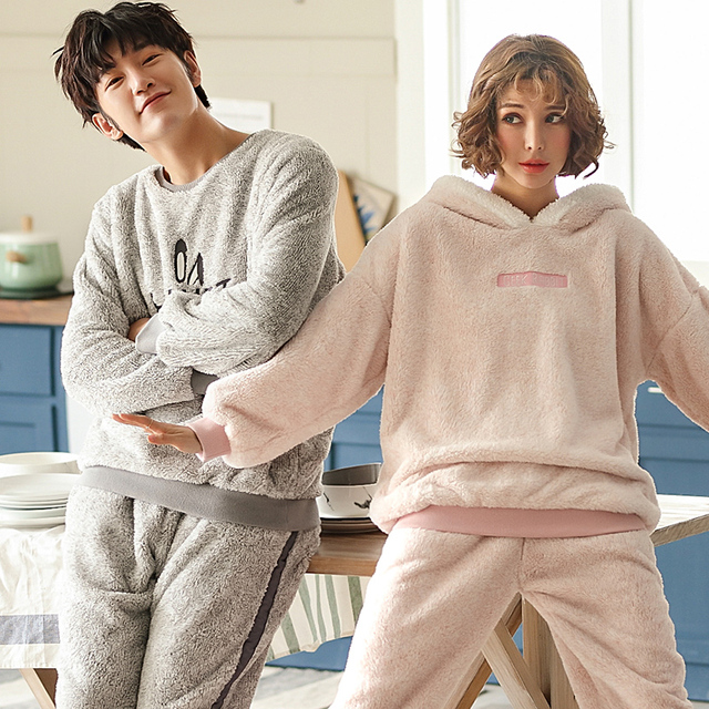 43825f12d Autumn Winter Warm Flannel Thick Pajamas Coral Fleece Women's Pajama Sets Couple  Pyjamas Men Sleepwear Size 3XL Home Clothing