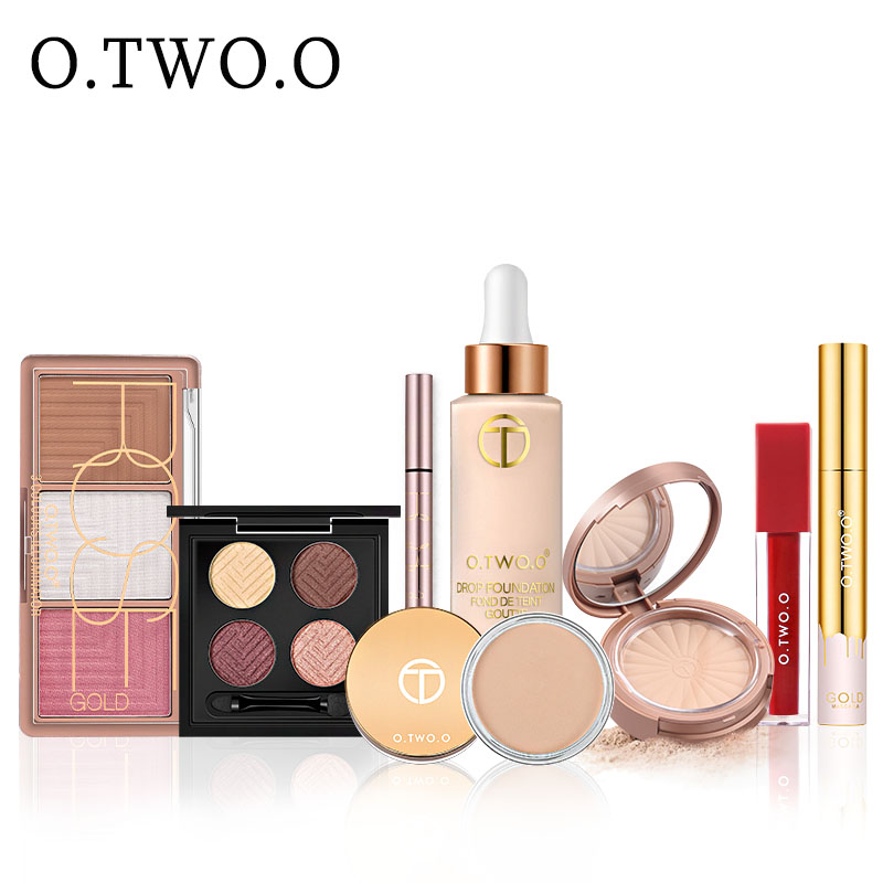 >O.TWO.O Make up <font><b>Set</b></font> <font><b>8</b></font> <font><b>PCS</b></font> Face Powder Foundation Concealer Blush Kit Eyeshadow Eyeliner Mascara Lip Gloss Ladies Makeup Kit Gift