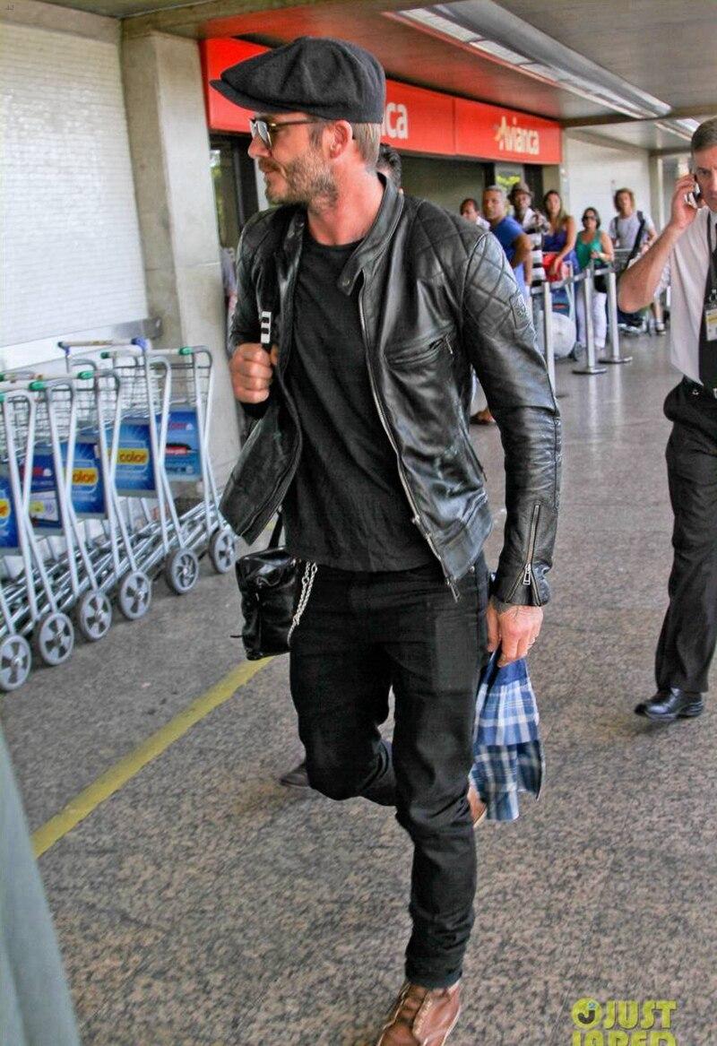 David Beckham Kulit Jaket Pria Mode Slim Nyata Sapi Asli Hitam Black Suede Motor Jaquetas De Couro Pendek Di Coats Dari Pakaian