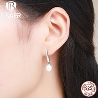 Vintage 100 Real 925 Sterling Silver White Elegant Monologue Korean Earrings For Women Fashion Drop Earrings