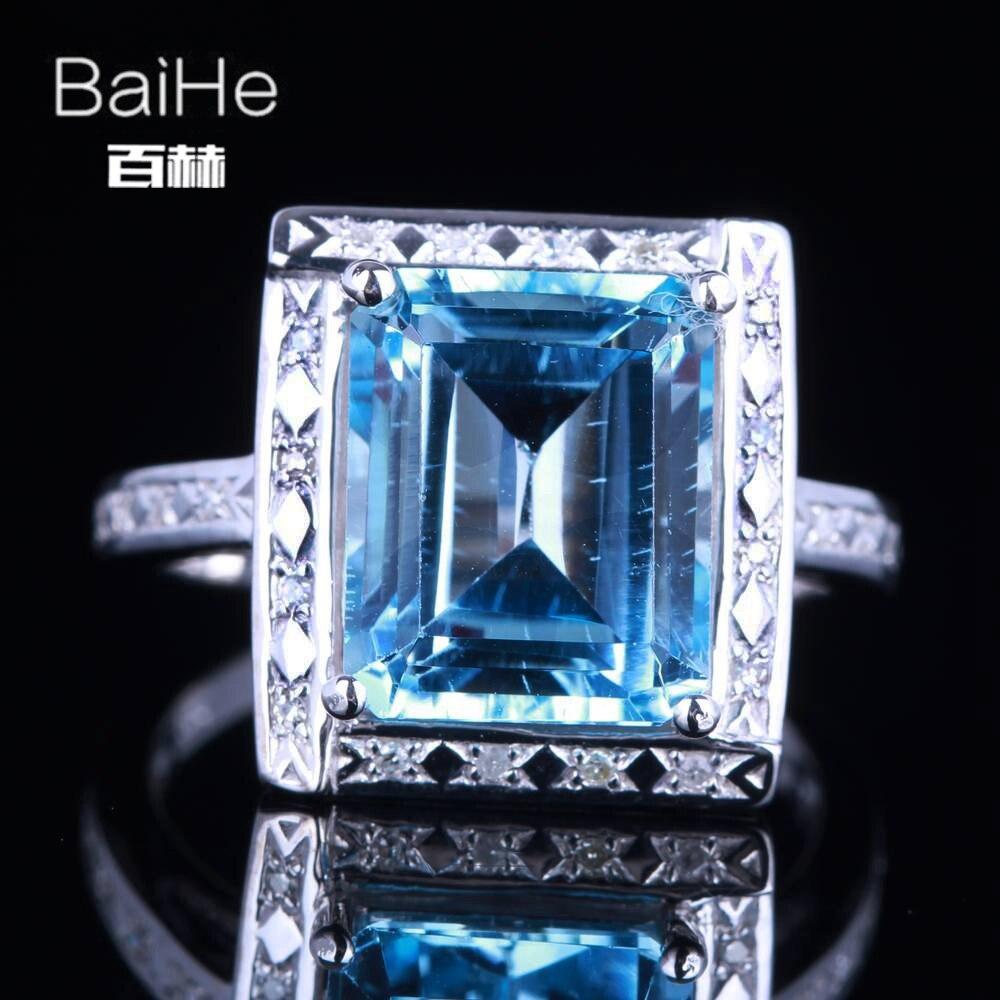 BAIHE Solid 14K White Gold(AU585)1.9CT Certified Genuine Sky Blue Topaz/Flawless Cushion Wedding Women Trendy Fine Jewelry Ring BAIHE Solid 14K White Gold(AU585)1.9CT Certified Genuine Sky Blue Topaz/Flawless Cushion Wedding Women Trendy Fine Jewelry Ring