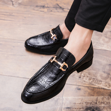Allwesome Pointed Toe Men Dress Shoes Genuine Leather Luxury Wedding Mocassins Flats Office Party Formal
