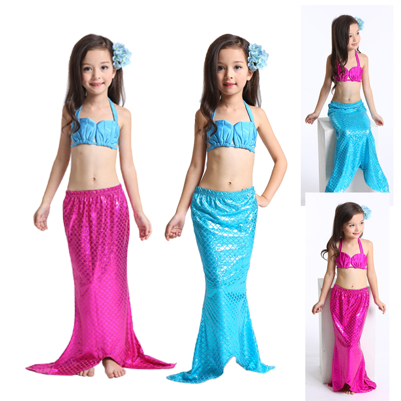 2019 Newest Lovely Princess Children Baby Girls Mermaid Tail Bath Split Swimsuit Costume Swimsuit Bikini Set Dress for 3-10Y