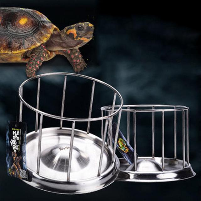 SaiDeng Stainless Steel Pet Tortoise Food Bowl Turtle Water Food Tray Food Dispenser Feeding Tool-35