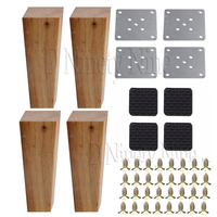 150x58x38MM Wooden Furniture Cabinet Leg Right Angle Trapezoid Feet Lifter Replacement for Sofa Table Bed Set of 4
