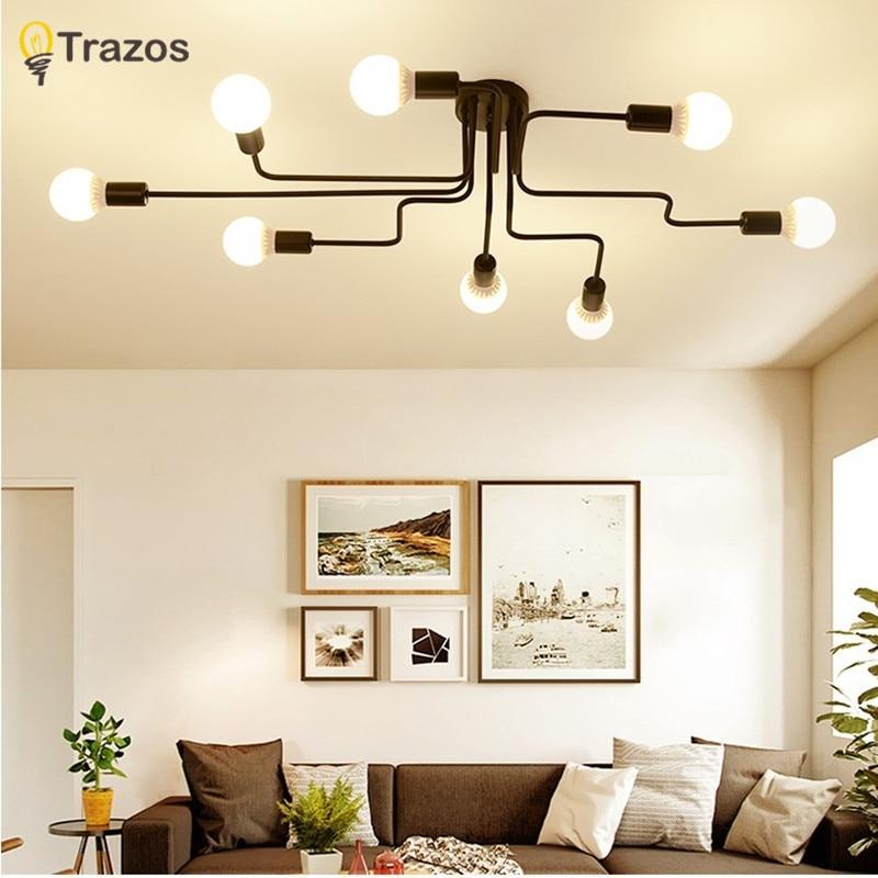 TRAZOS Retro industrial loft Nordic pipe Wrought iron ceiling light lustre lamps for home decor restaurant dinning cafe bar room цена в Москве и Питере
