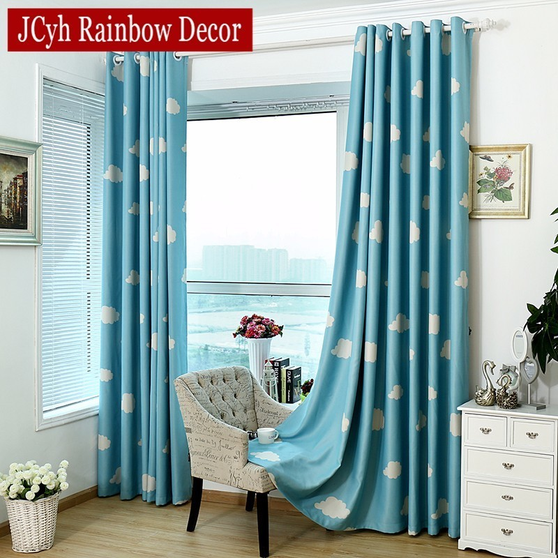 Cartoon Children Blackout Curtains For Kid's Room Clouds Blue Sky Children Bedroom Curtains For Window Kids Curtain For Child