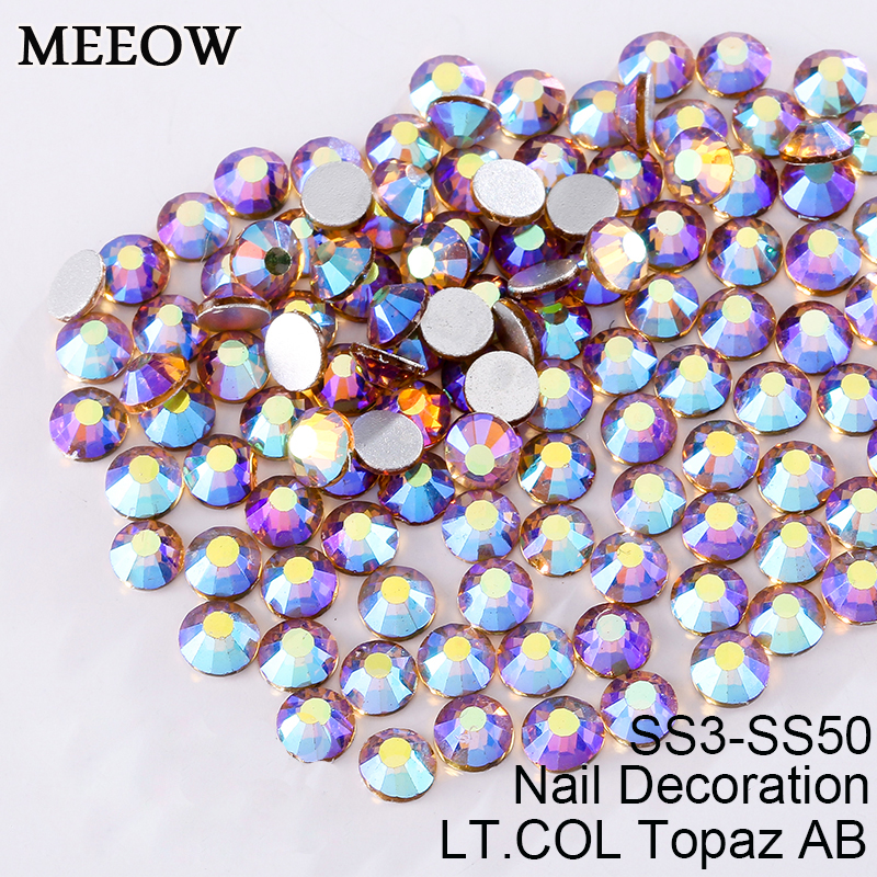 Flatback Rhinestones SS3-SS30  Light Colorado Topaz AB Nail Art Rhinestones For Nails Decoration And DIY  Accessories ss3 ss30 jet black ab nail art rhinestones with round flatback for nails art cell phone and wedding decorations