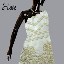 2016 High quality lace 5yards african raw silk george lace fabric indian george wrappers for wedding and party dress 1