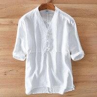 2017 Summer Men Casual Shirts Solid White Short Sleeve 100 Linen Dress Shirts Camisa Masculina