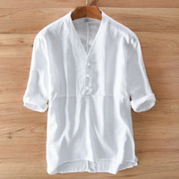 2017 Summer Men Casual Shirts Solid White Short Sleeve 100 Linen Dress Shirts Camisa Masculina