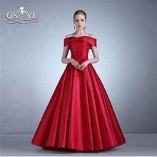 2afc35e2cda3 QSYYE 2018 Lungo Rosso Prom Dresses Elegante Al Largo della Spalla 3D Fiore  Del Merletto di