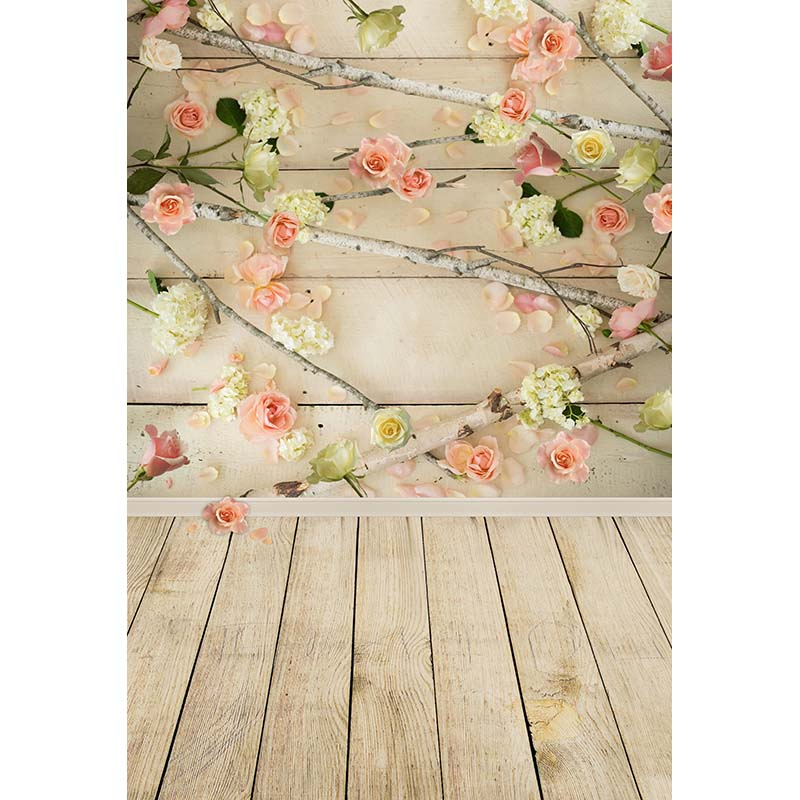 1x1.5M Vinyl Photography Backgrounds Newborn Flowers Wood Floor Theme Photo Backdrops for Photo Studio CM6698