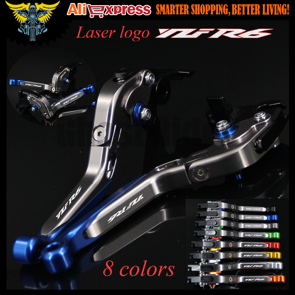 Laser Logo(YZF R6) Blue+Titanium CNC Adjustable Motorcycle Brake Clutch Levers For Yamaha YZF R6 1999 2000 2001 2002 2003 2004 6 colors cnc adjustable motorcycle brake clutch levers for yamaha yzf r6 yzfr6 1999 2004 2005 2016 2017 logo yzf r6 lever