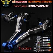 Laser Logo (YZF R6) blau + titanium cnc einstellbare motorrad bremse kupplungshebel für yamaha yzf r6 1999 2000 2001 2002 2003 2004