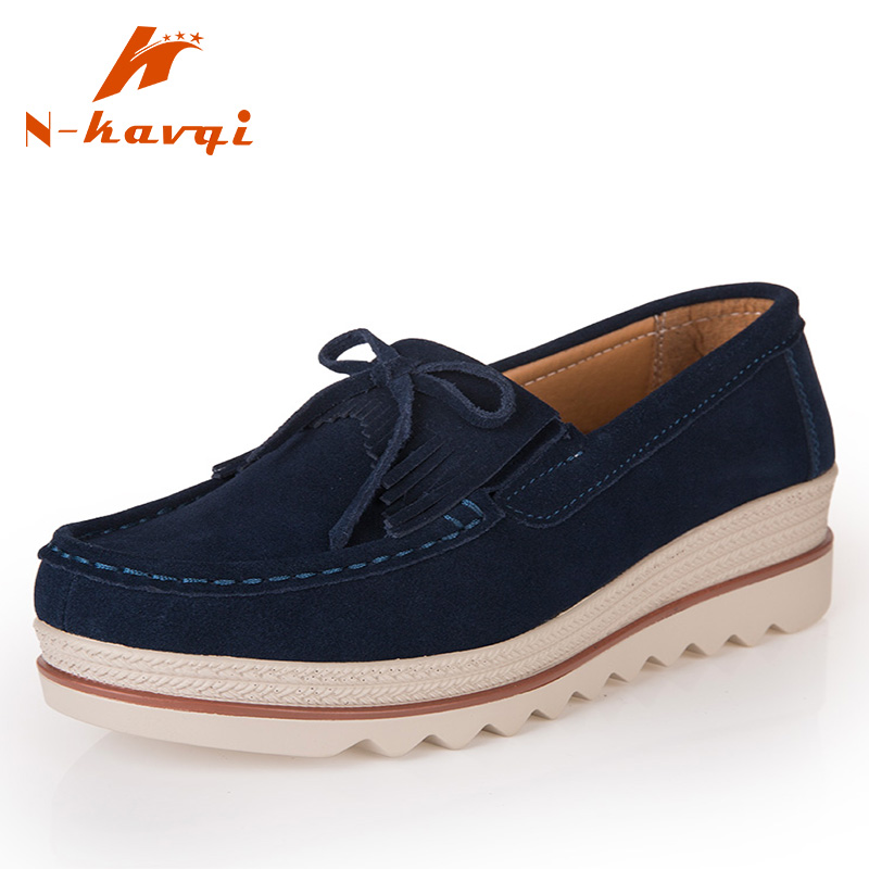 NKAVQI 2019 New Brand Women Genuine   Leather     Suede   Flats Casual Female Moccasins Spring Lady Loafers Women Shoes 7 Color