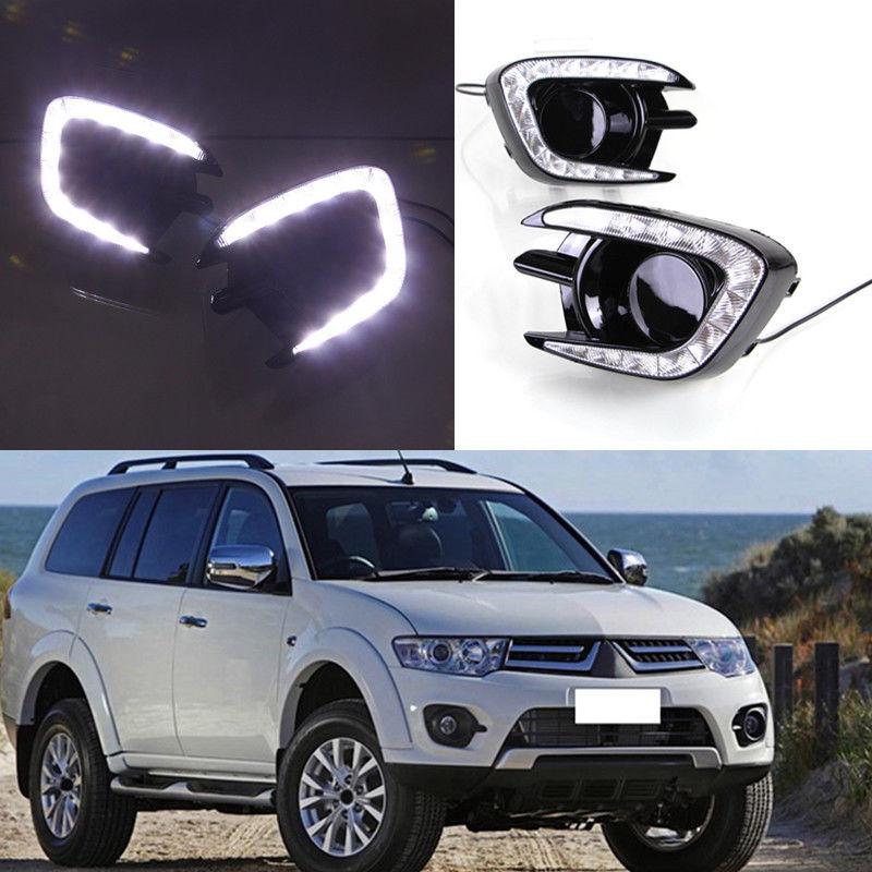 High Quality White DRL Daytime font b Running b font Light lamp For Mitsubishi Pajero font
