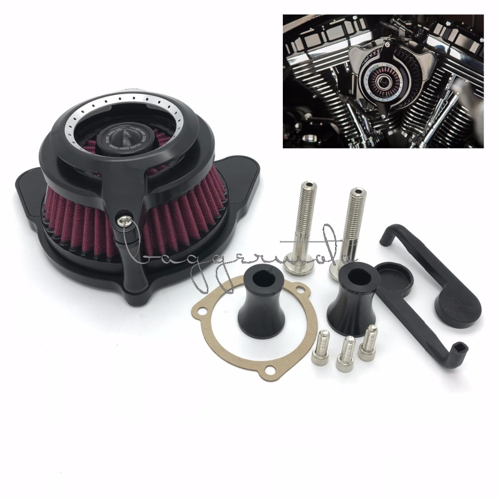 Motorcycle Air Cleaner Intake Filter System Black For Harley Sportster 91-17 Dyna Softail 93-15 Touring Street Road Glide 08-16 chrome motorcycle spike air cleaner filter case for harley softail rocker cross bones 2008 2009 touring softail dyna 2004 2007