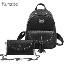 Kunzite Brands Backpack Women Backpacks High Quality Pu Leather Back Pack With Purse Rivet Plaid School Bags for Girls mochilas