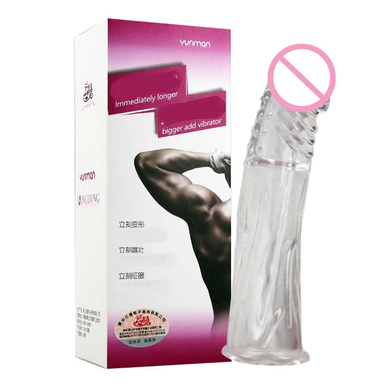 18cm/7'' Extender Penis Sleeve Reusable Condom With Solid Simulation Glans Dotted Penis Cover Dildo Dick Cock Ring Man Sex Toys