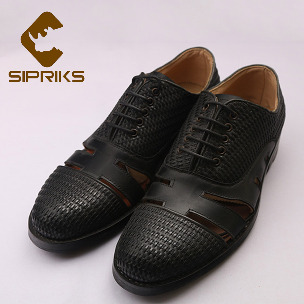 Sipriks Mens Goodyear Welted Sandals Round Toe Hollow Oxfords Breathable And Cool Boss Business Dress Office Work Shoes 45 46 47