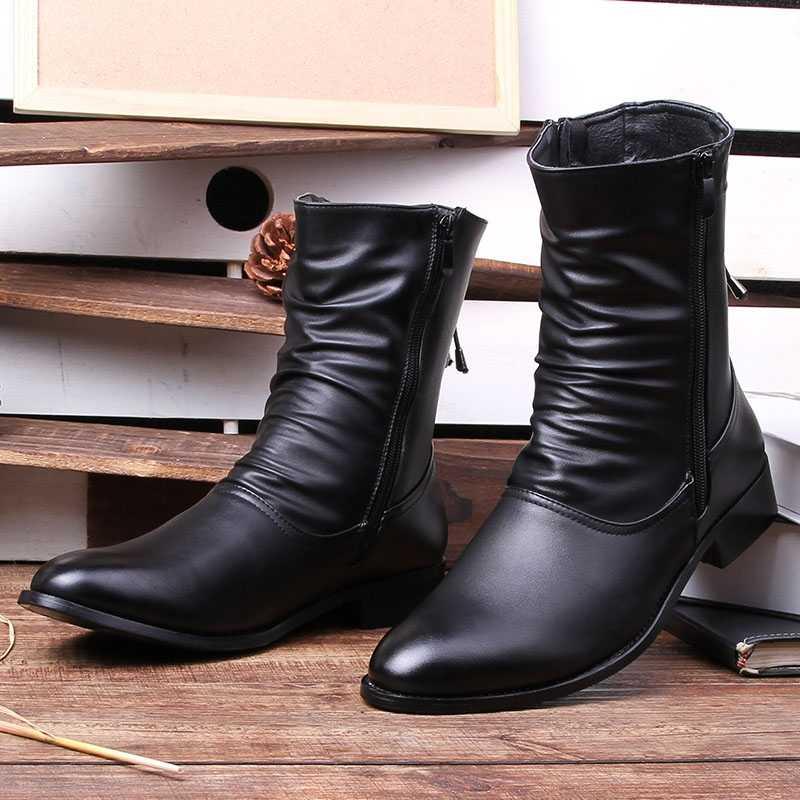 Mannen Laarzen Lederen Outdoor Sneeuw Enkellaars Mannelijke Veiligheidsschoenen Anti-slip Laarsjes Britse Martin Schoenen Werken Schoenen Zapatos de Hombre