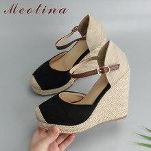 0d391839f0f856 Meotina femmes sandales chaussures d'été plateforme compensées talon bride  cheville chaussures bohême femme Espadrille